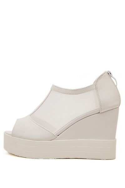 Free Shipping White Cutout Mesh Peep Toe Casual Wedges