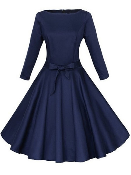 959b10b5eb Bowknot Belt Charming Round Neck Plain Skater-Dress Dark Blue on Luulla